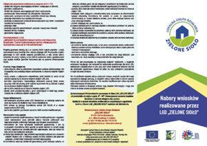Ulotka Nabory Wniosków Realizowane przez LGD Zielone Sioło