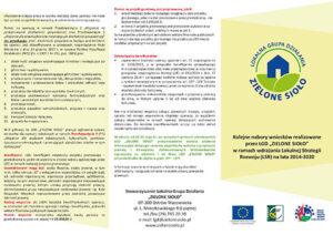 Ulotka Nabory Wniosków Realizowane w Ramach Lokalnej Strategii Rozwoju (LSR) 2014-2020
